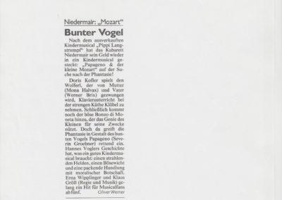 Papageno und der kleine Mozart 1999 Zeitung