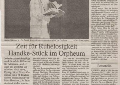 Die Stunde da wir nichts voneinander wussten 1996 Zeitung